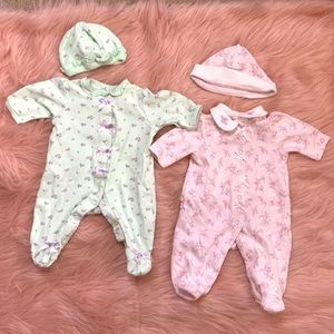 2pcs footed onesies with hats